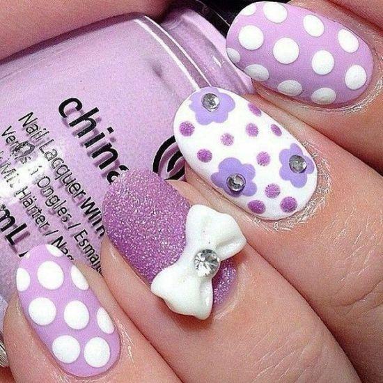 Purple Glitter Nail Art With Bows And Polka Dots