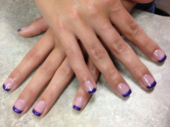 Purple French tip shellac nails