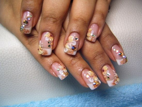 View Images Abstract Stone And Rhinestone Nail Art