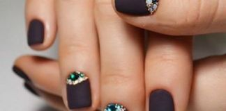 Jewels Over Matte Black Nails