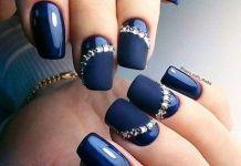 Jeweled Matte Navy Blue Nails