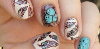 Pastel Feathers Nail Design