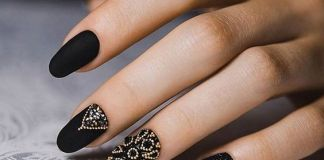 Gorgeous Jewels On Matte Black Nails