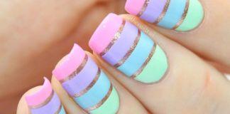Pastel Stripes Nail Art