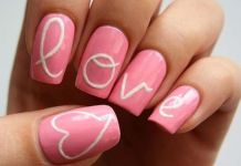 Typographic Love Nail Art
