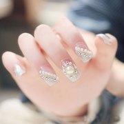 white acrylic nails nail design