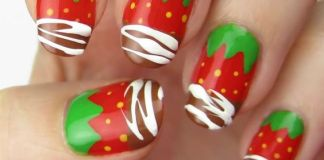 Chocolate Dipped Strawberry Nail Design