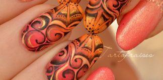 Gradient Swirls On Orange Nails