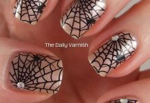 Studded Spider Web On Gold Nails