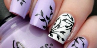 Botanical Light Purple Nail Art