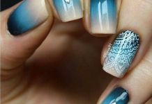 Gradient Blue Nails With Lovely Mandala Accent