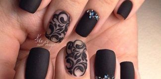 Sheer And Jewels On Matte Black Nails
