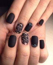 stunning matte black nails
