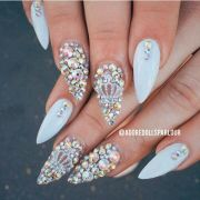 gleaming nail design with rhinestones