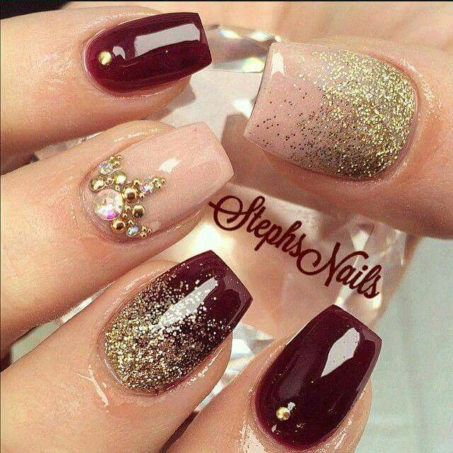 30dark Red Nails With Gold Glitter And Gems