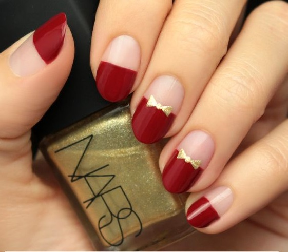 flamboyant red and gold nails