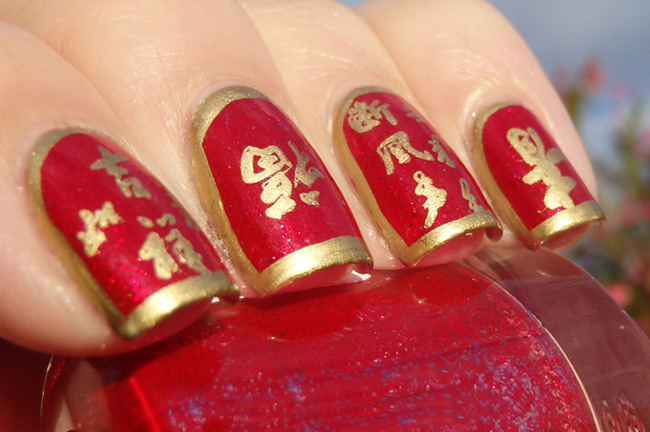11gold Rush And Red Chinese New Year Nail Art Design