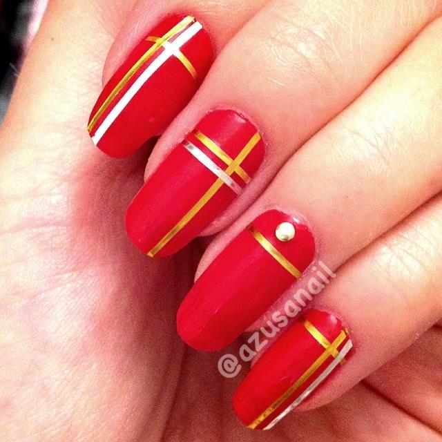 15humble Red Gold Nail Art