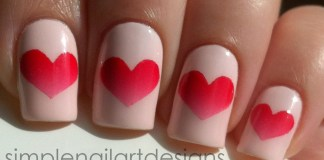 Ombre Centered Heart On Pale Pink Nails