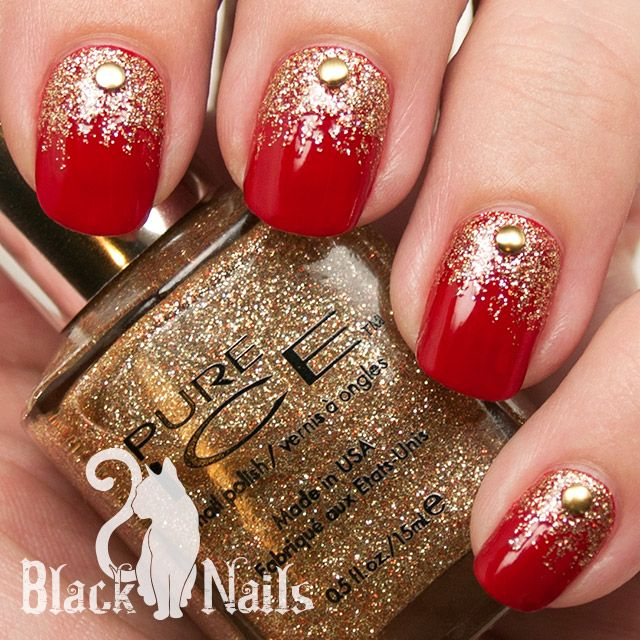 16red And Gold Nail Art With Caviar Be Design