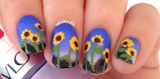 Sunset Sunflower Nail Art