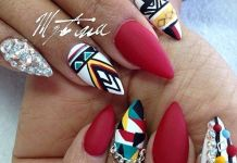 Tribal Inspired Almond Nail Art