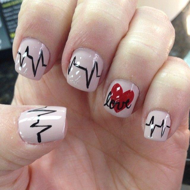 52love Heartbeat Nail Design