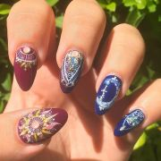 whimsical celestial nails