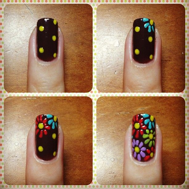 Flower Nail Designs Step By Tutorial