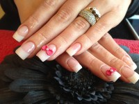 Full set of acrylic nails with pink gelux gel polish and ...