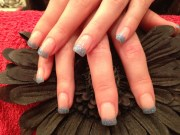 gel nails with blue gelish