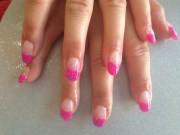 gel nails with pink and glitter