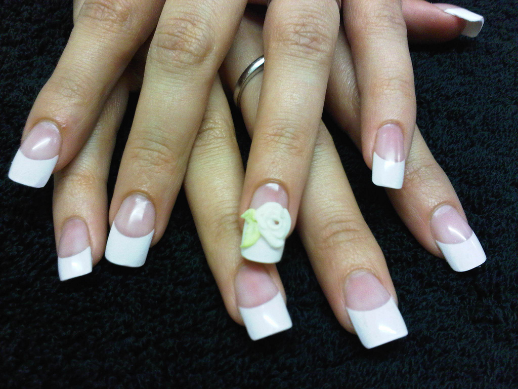 Nails By Laurie Paling French Tips With Acrylic Overlay And 3d Rose