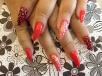 Stiletto Nails With Oriental Poppy Gel Nail Polish