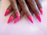 Stiletto Nails With Pink Gel Polish