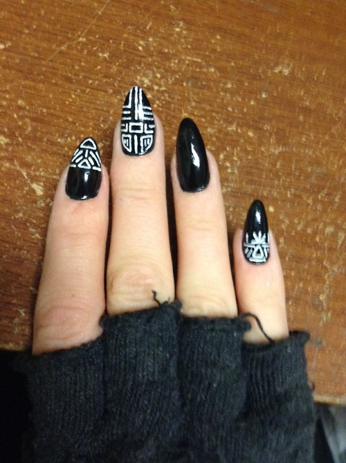 Abstract Black Freehand Nail Design