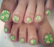 floral nail design and fingertips