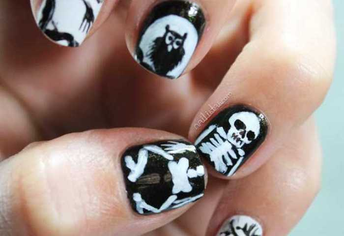 Uñas Decoradas Con Esqueletos Disney Manisdehalloween Nailistas