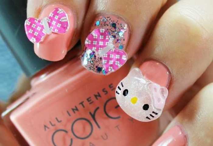 Uñas Decoradas Con Hello Kitty En 3d Nailistas Productos De Uñas