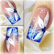 nail art tutorial blue and white