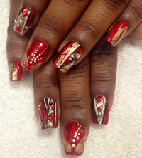 Nail Art Tutorial, Nail Designs, Red Nails, Cherry Bomb Nails