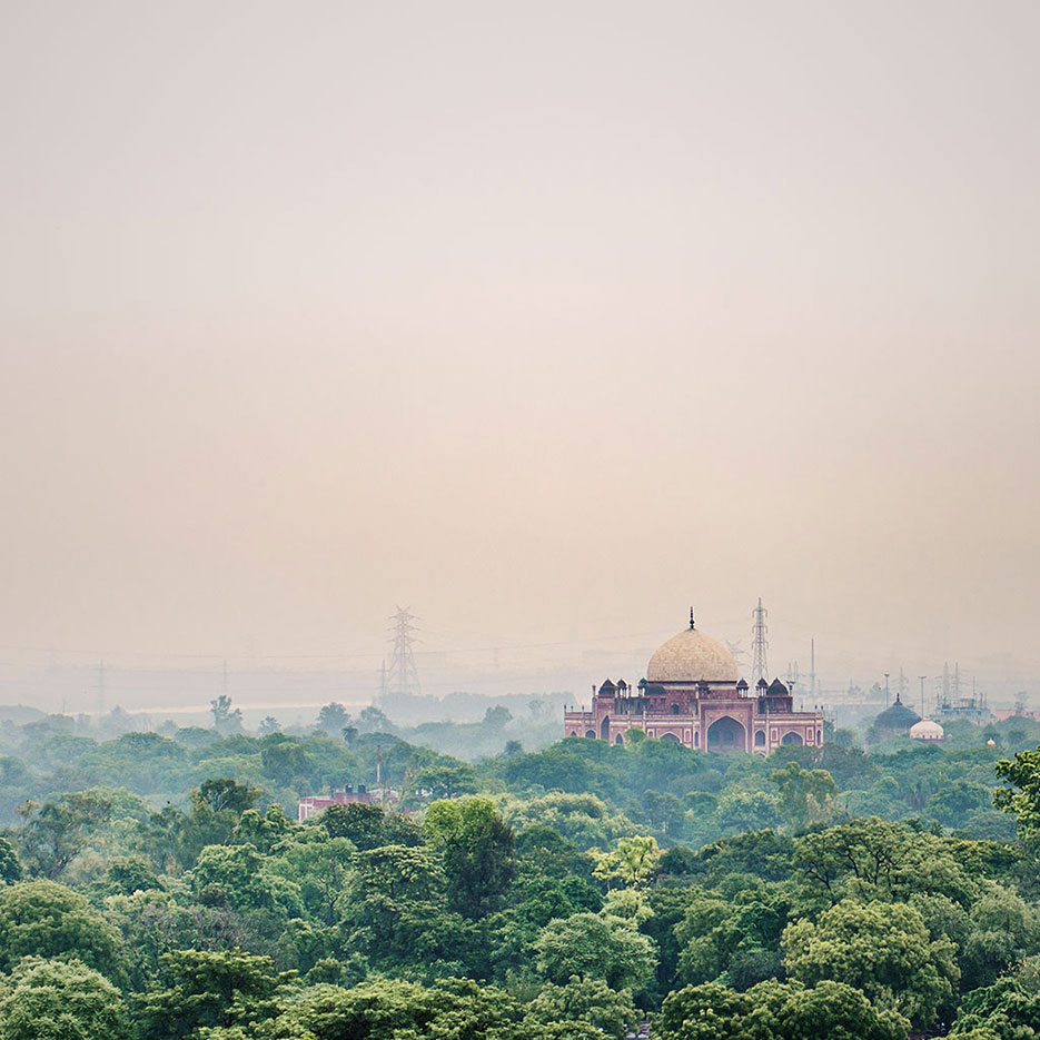 Buy a print of New Delhi's famous monument, the Humayun's Tomb, as photographed from The Oberois Hotel's roof by Naina Redhu
