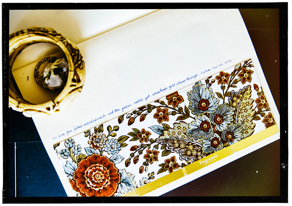 Collage, Favorite Things : Jewelry, Journal, Pressed Flowers, Silk, Candle stand, Porcelain. Photography by professional Indian lifestyle photographer Naina Redhu of Naina.co