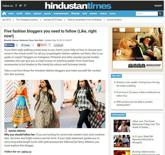 Hindustan Times, Five Fashion Bloggers To Follow, Press, Naina.co Luxury & Lifestyle, Photographer Storyteller, Blogger.