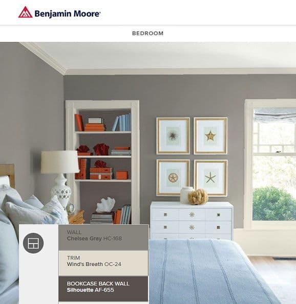 Benjamin Moore Chelsea Gray bedroom  Nicole Arnold Interiors