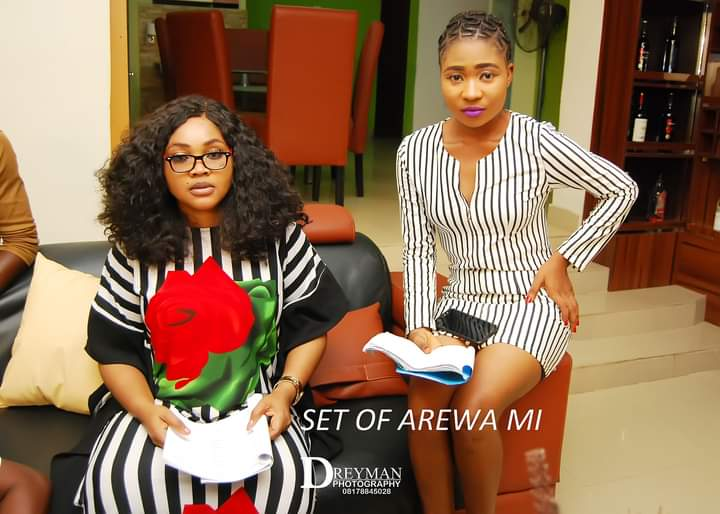 On set with Mercy Aigbe