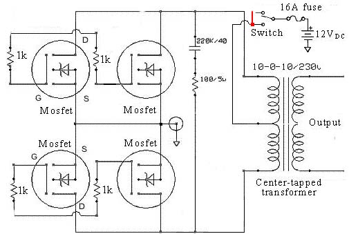 Simple Low Power Inverter Circuit (12V Dc To 230V Or 110V