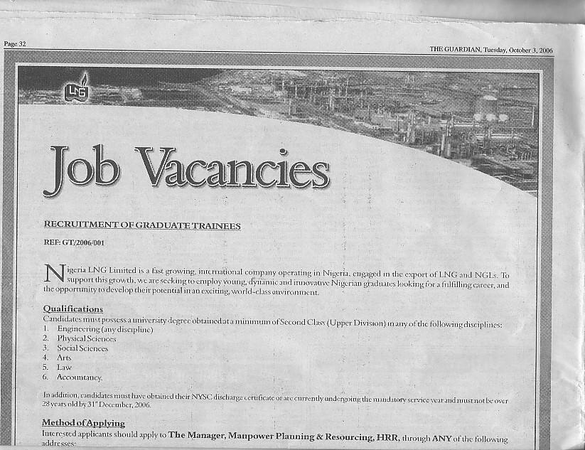 Nlng Is Recruting Fresh Graduates. - Jobs/Vacancies - Nigeria