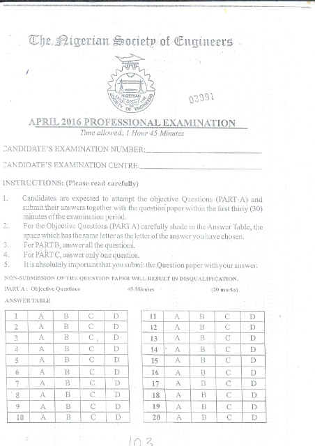 The Nigerian Society Of Engineers Professional Exam Past