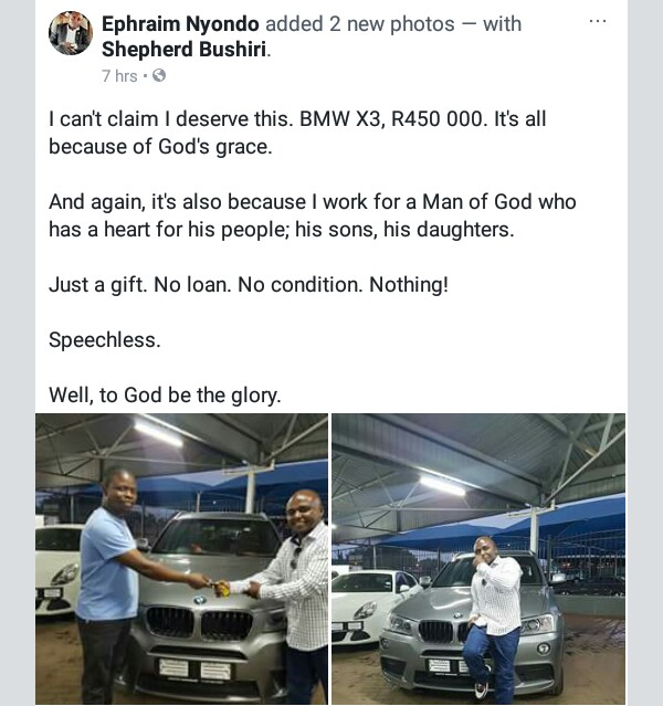 Prophet Bushiri Gives BMW X3 To 2 Members Of Media His